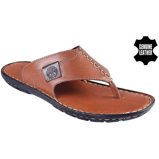 MyWalk Mens Leather Tan Open Casual Slipper