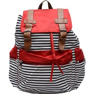 cute red lining print backpack bag