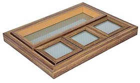 Nirathisayam Wood Hand-Made Tray With Coaster, 5-Piece, Service For 10, Brown
