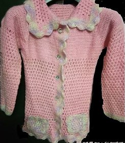 Pink hand knitted crochet full sleeves cardigan with collar