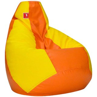 Comfy Bean Bag ORANGE YELLOW L SIZE Without Fillers - Cover Only