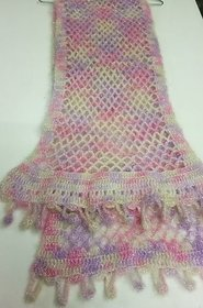 Pink hand knitted crochet stawl( S)