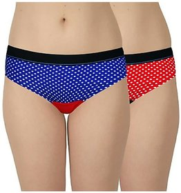 Pack Of 2 Women topelastic Printed Cotton Multicolor Hipsters & Pantie (Color May Vary)