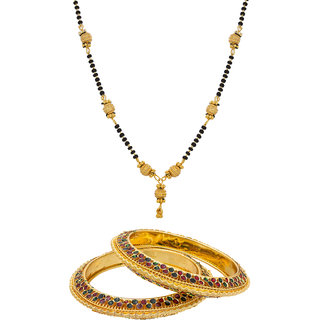 The Luxor Fashionable Gold Plated Mangalsutra With Bangles Combo
