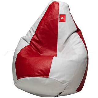 Comfy Bean Bag RED WHITE L SIZE Without Fillers - Cover Only