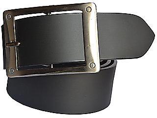 Sunshopping mens black Leatherite h pin buckle belt