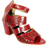Andfoot Lazor Cut Cherry Red Block Heels