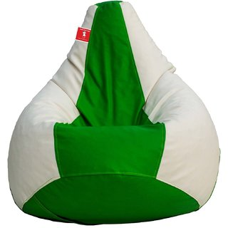 Comfy Bean Bag WHITE GREEN L SIZE Without Fillers - Cover Only