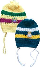 Jisha fashion Woolen Cap assorted color  (3 - 7 Years) pack of 2