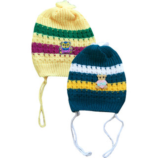 Jisha fashion Woolen Cap assorted color (3 - 7 Years) pack of 2