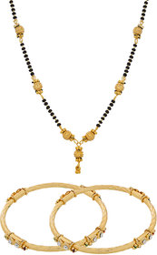 The Luxor Golden Contemporary Mangalsutra With Bangles Combo