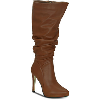 Kielz Tan Knee Length Womens Boots