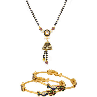 The Luxor Pearls And Beads Ethnic Gold Plated Mangalsutra With Peacock Bangles Combo