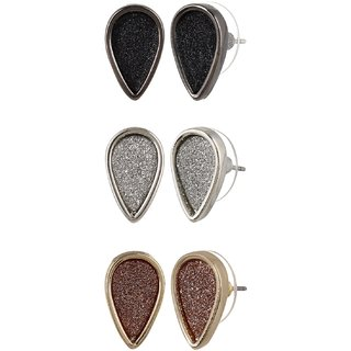 Fayon Fashion Statement Three Different Color Tiny Stud Earrings Set