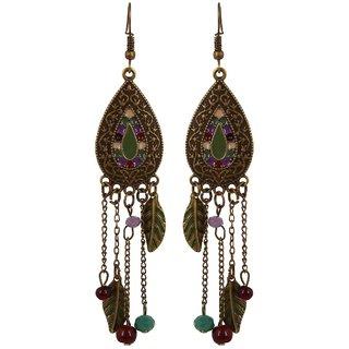 Fayon Fabulous Statement Green Leaf And Beads Jhumki Earrings