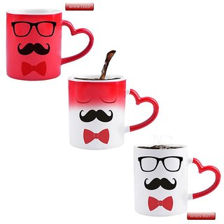 Snoby GLASS MUSTACHE AND BOW  Printed  Color Changing Magic Mug