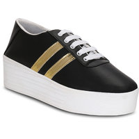 Kielz Black Lace-up Sneakers For Women's