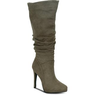 Kielz Khaki Knee Length Womens Boots