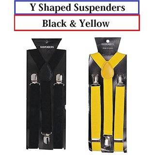 Buy Suspender for Men Classy and Elegant Y-Shaped Back set of 2 Color Black  and Yellow Online - Get 73% Off 1993c4837