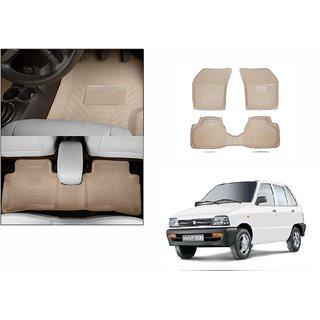 Autonity Perfect Fit 3D Beige Car Floor/Foot Mats For Maruti 800