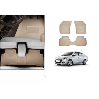 Autonity Perfect Fit 3D Beige Car Floor/Foot Mats For Renault Scala