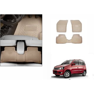 Autonity Perfect Fit 3D Beige Car Floor/Foot Mats For Mahindra Quanto
