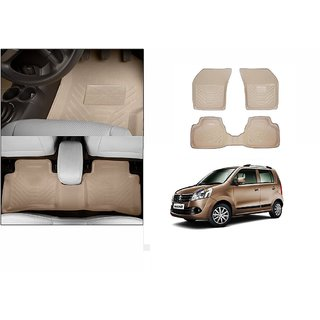 Autonity Perfect Fit 3D Beige Car Floor/Foot Mats For Maruti WagonR