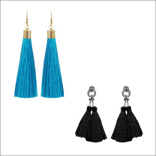 JewelMaze Multicolour Set of 2 Thread Earrings Combo