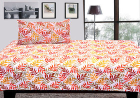 Pure Cotton Designer Single Bed Sheet with 1 Pillow Cover