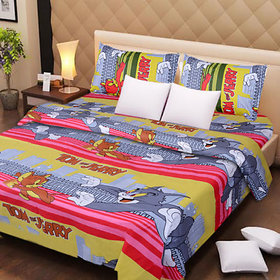 Pure Cotton Cartoon Printed Double Bed Sheet With 2 Pillow Covers