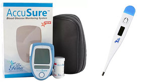 DR GENE ACCUSURE GLUCOMETER WITH 25 STRIPS AND ACCUSURE DIGITAL THERMOMETER MT-101 COMBO