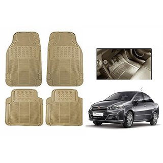 Autonity Rubber Car Floor / Foot  Mats Set Of 4 Beige For Fiat Linea