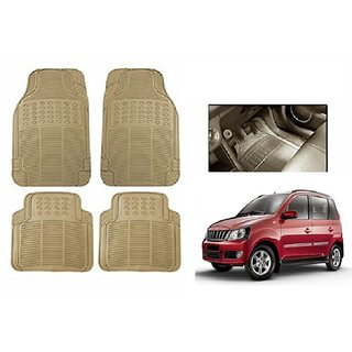 Autonity Rubber Car Floor / Foot  Mats Set Of 4 Beige For Mahindra Quanto