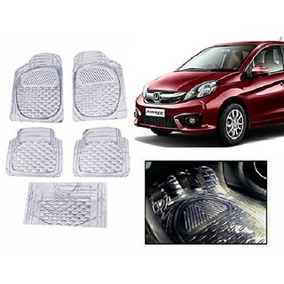 Autonity Clear Transparent  Car Floor/Foot Mat Set Of 5 For Honda Amaze
