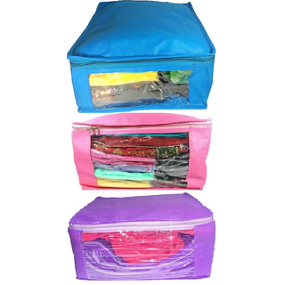 DIMONSIV Plain 10 Inch Ladies Large Non - Woven 3saree Cover. Upto 10 - 15 Saree Cover each  (Pink,Purple,Blue)