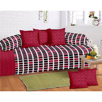 WI International Cotton Diwan Set(content 1 Single Bed Sheet, 5 Cushion Cover, 2 Bolster, Total - 8 Pcs Set, Exclusive Design)