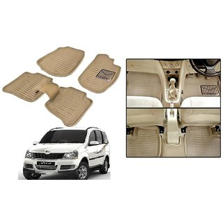 Autonity 3D Beige Car Floor/Foot Mats For Mahindra Xylo