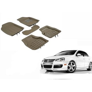 Autonity 4D Crocodile Style Beige Car Floor/Foot Mats For Mahindra Verito