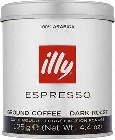 illy 100 Arabica Dark Roast Ground Espresso Coffee Powder, 125g