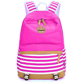 Bonmaro Stripes 25L Pink Water Repellant Casual Canvas Backpack