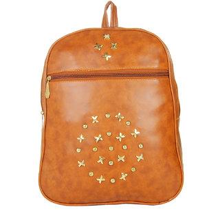 JG Shoppe Orange PU Men & Women Backpack