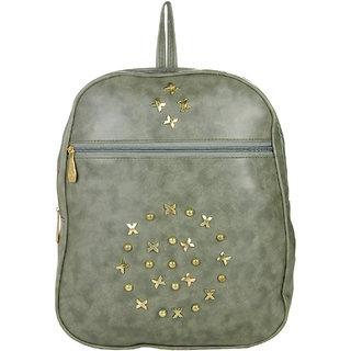 JG Shoppe Grey PU Men & Women Backpack