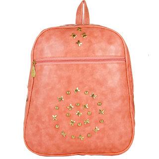 JG Shoppe Pink PU Men & Women Backpack