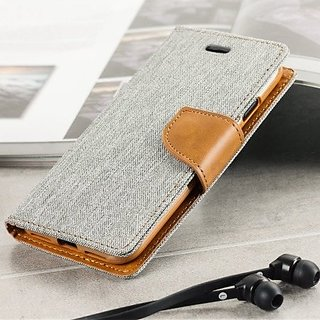 BS Nosson Fancy Canvas Diary Wallet Flip Cover Case for SONY XPERIA C - GREY