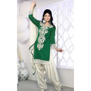 Ladies Net And Georgette Dress Material Green And White (Unstitched)