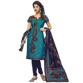 Jevi Prints Light Blue Printed Unstitched Pure Cotton Salwar Suit Dupatta