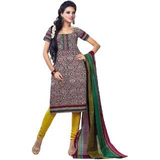 Jevi Prints Maroon Printed Unstitched Pure Cotton Salwar Suit Dupatta