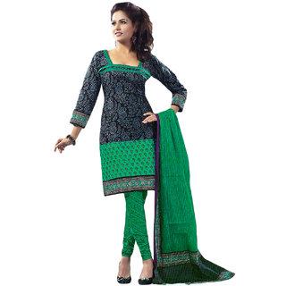Jevi Prints Green Printed Unstitched Pure Cotton Salwar Suit Dupatta