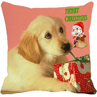 MeSleep Puppy Merry Christmas Digitally Printed Multi-Coloured Cushion Cover