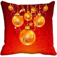 MeSleep Merry Christmas Digitally Printed Red Cushion Cover